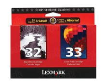 Lexmark #32/33 Black and Color Inkjet Cartridges, OEM 18C0532 Two Pack