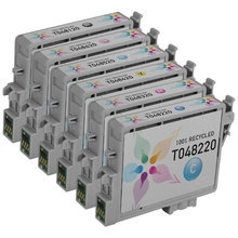 Remanufactured 6 Pack for Epson T048: 1 Black, Cyan, Magenta, Yellow, Light Cyan, Light Magenta