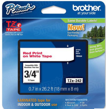 Brother TZe242 Red on White OEM 3/4 Label Tape