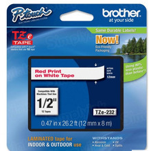 Brother TZe232 Red on White OEM 1/2 Label Tape