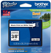 Brother TZe221 Black on White OEM 3/8 Label Tape