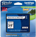 Brother TZe-221 3/8 Black on White OEM Tape