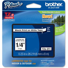 Brother TZe211 Black on White OEM 1/4 Label Tape
