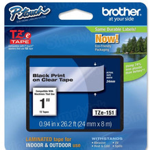 Brother TZe151 Black on Clear OEM 1 Label Tape