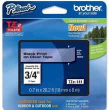 Brother TZe141 Black on Clear OEM 3/4 Label Tape