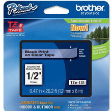 Brother TZe131 Black on Clear OEM 1/2 Label Tape