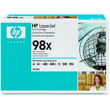 HP 98X (92298X) Black High Yield Original Toner Cartridge in Retail Packaging
