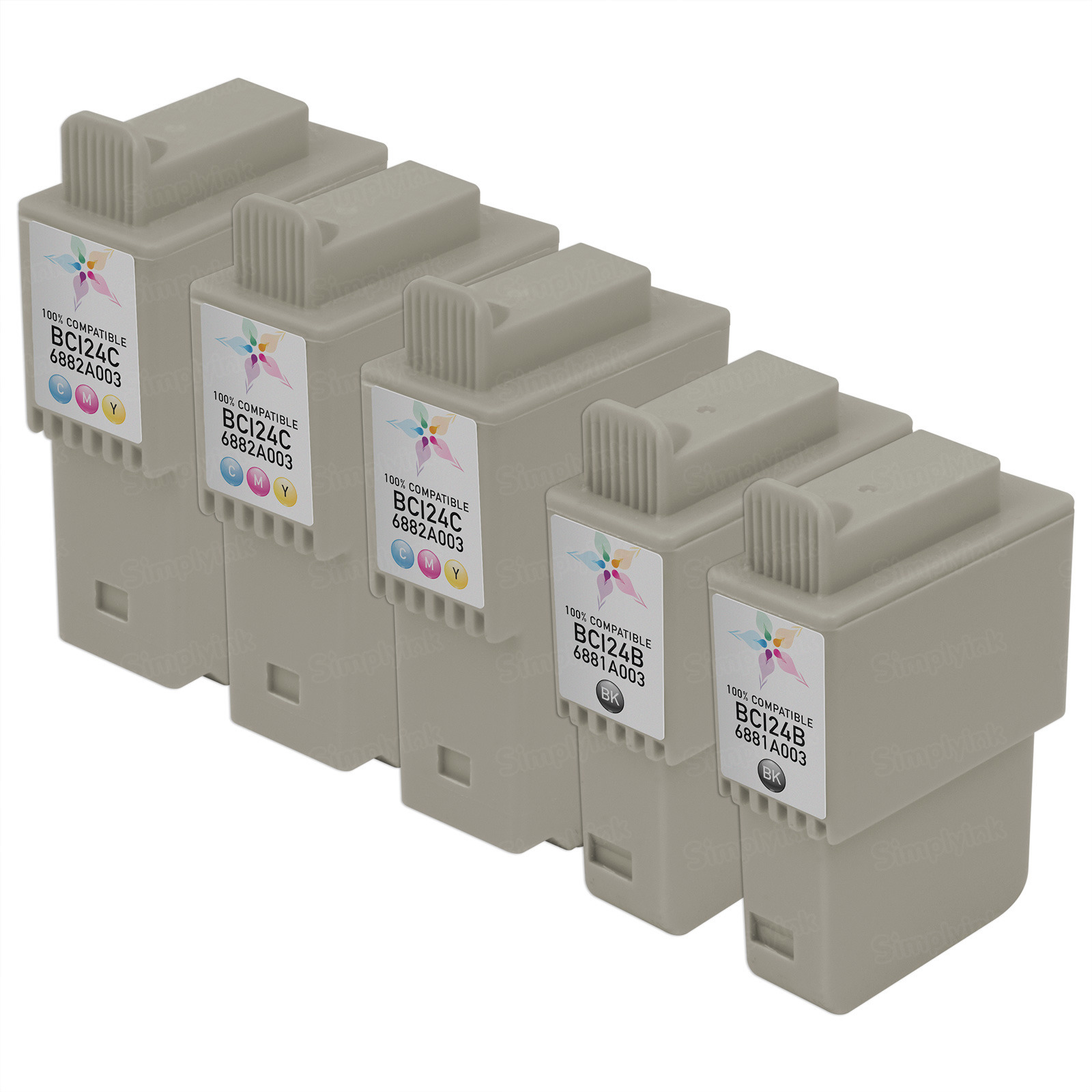 Inkjet Supplies for Canon Printers - Remanufactured Bulk Set of 5 Ink Cartridges - 3 Black Canon BCI24B and 2 Color Canon BCI24C