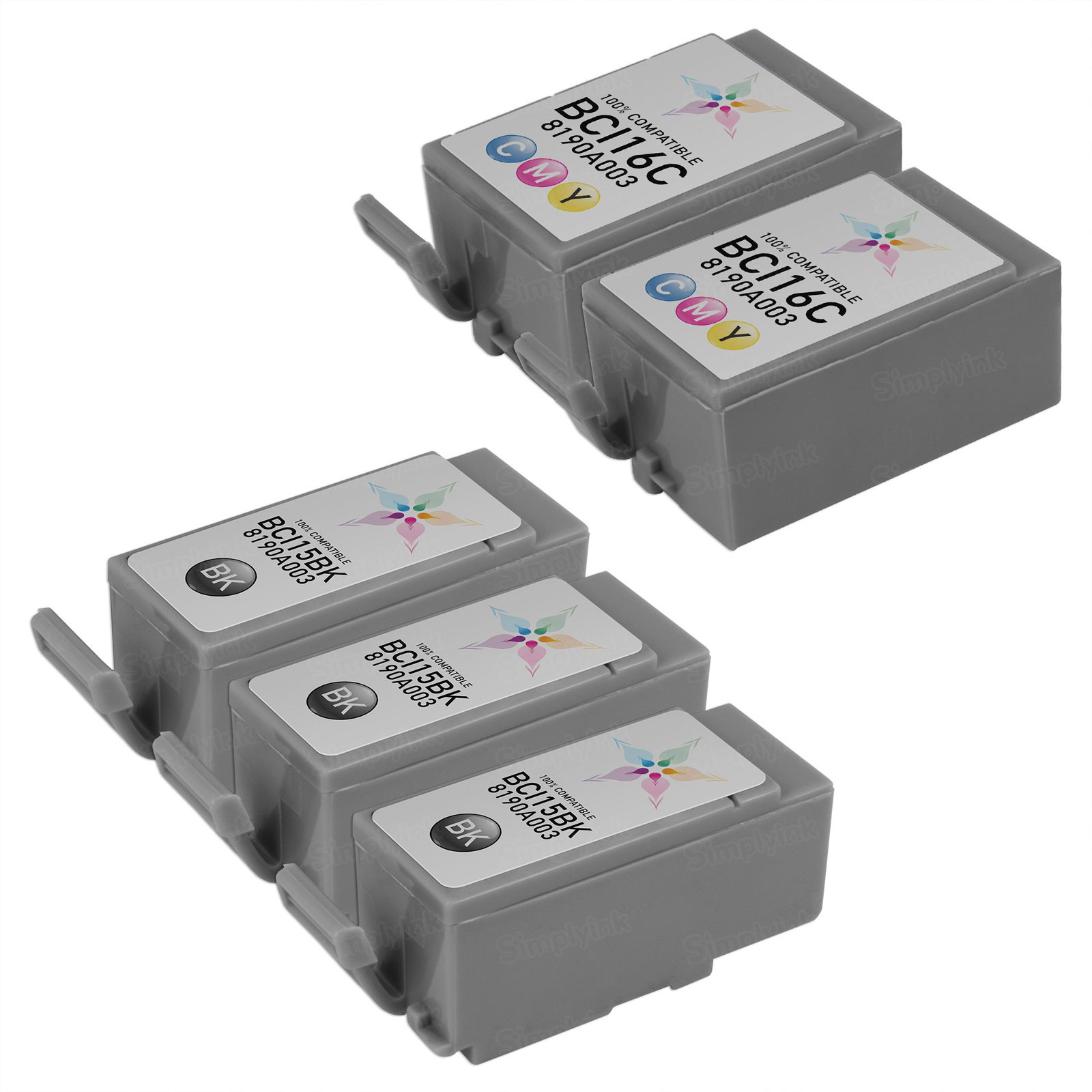 Inkjet Supplies for Canon Printers - Remanufactured Bulk Set of 5 Ink Cartridges - 3 Black Canon BCI15BK and 2 Color Canon BCI16C