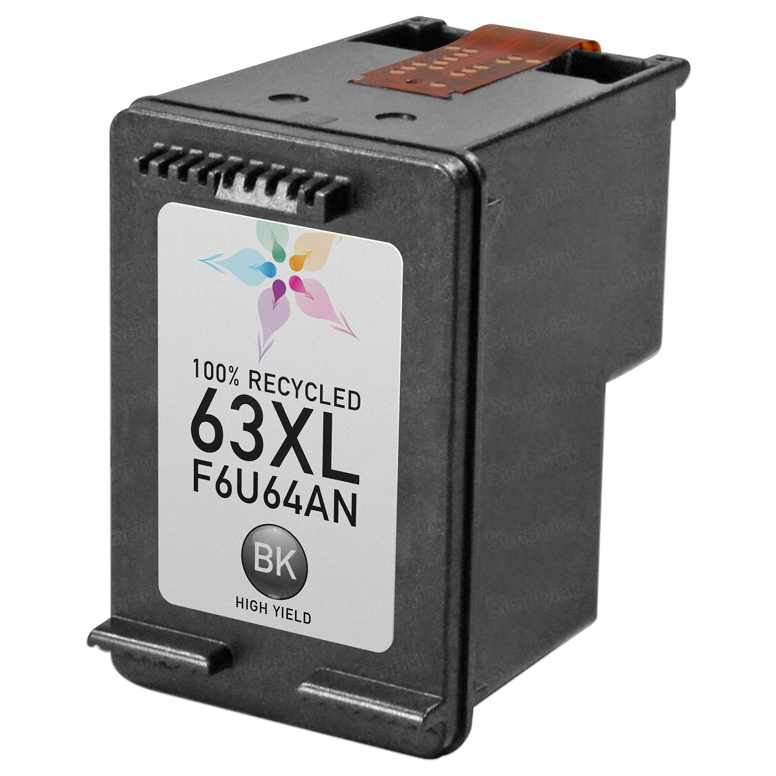 Remanufactured Replacement HY Black Ink for HP F6U64AN (HP 63XL)