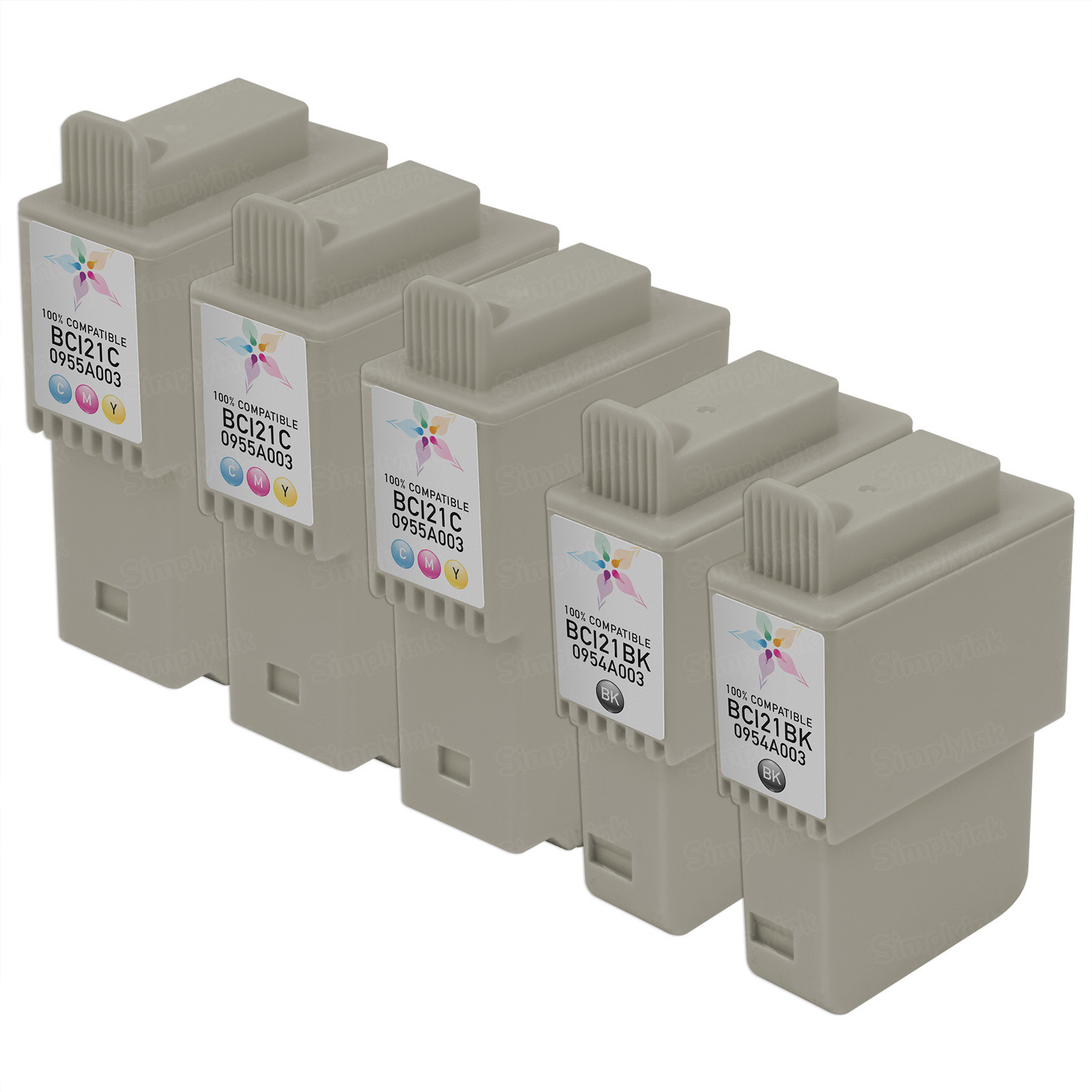 Inkjet Supplies for Canon Printers - Remanufactured Bulk Set of 5 Ink Cartridges - 3 Black Canon BCI21B and 2 Color Canon BCI21C