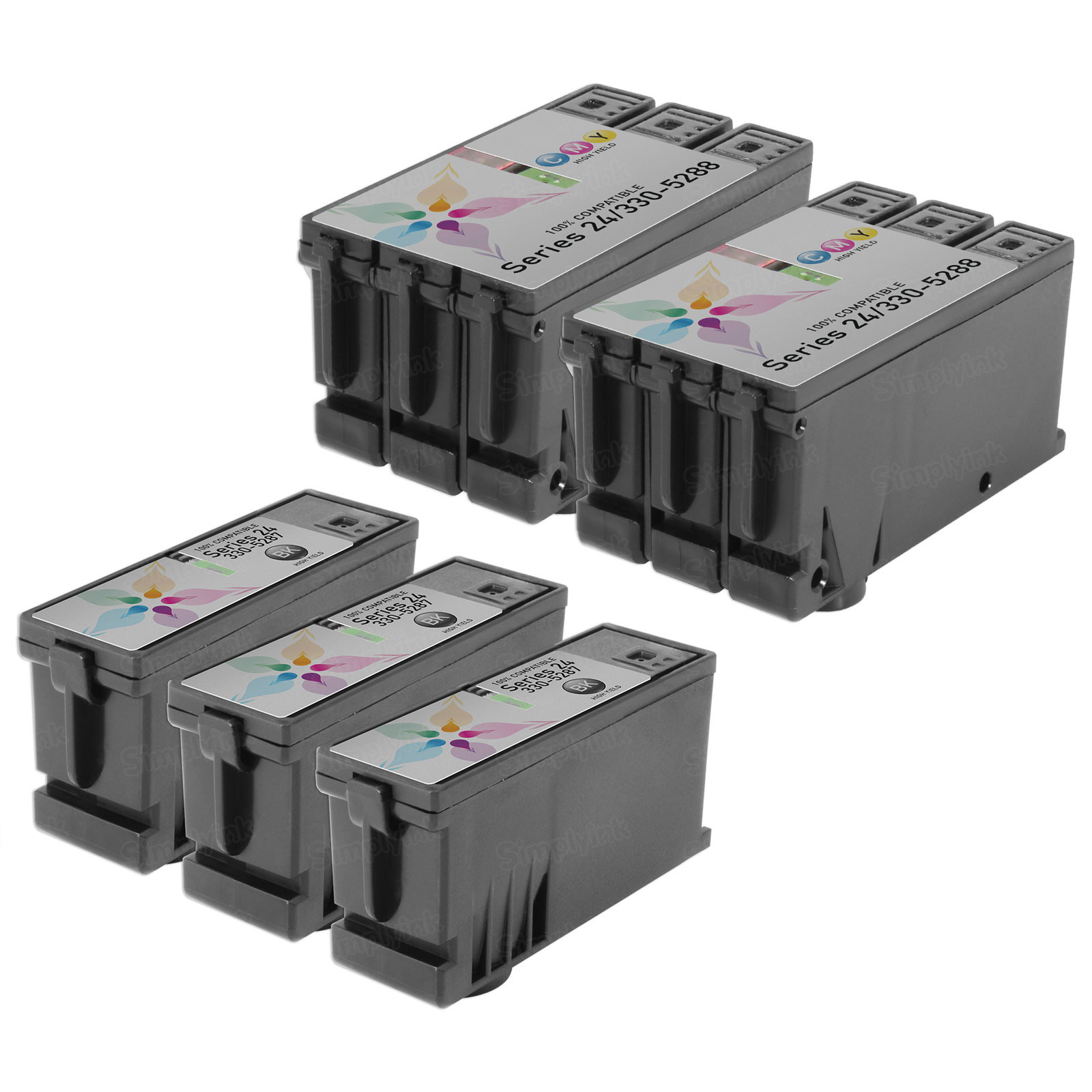 Inkjet Supplies for Dell Printers - Compatible Bulk Set of 5 Ink Cartridges - 3 Black Dell T109N (Series 24) and 2 Color Dell T110N (Series 24)