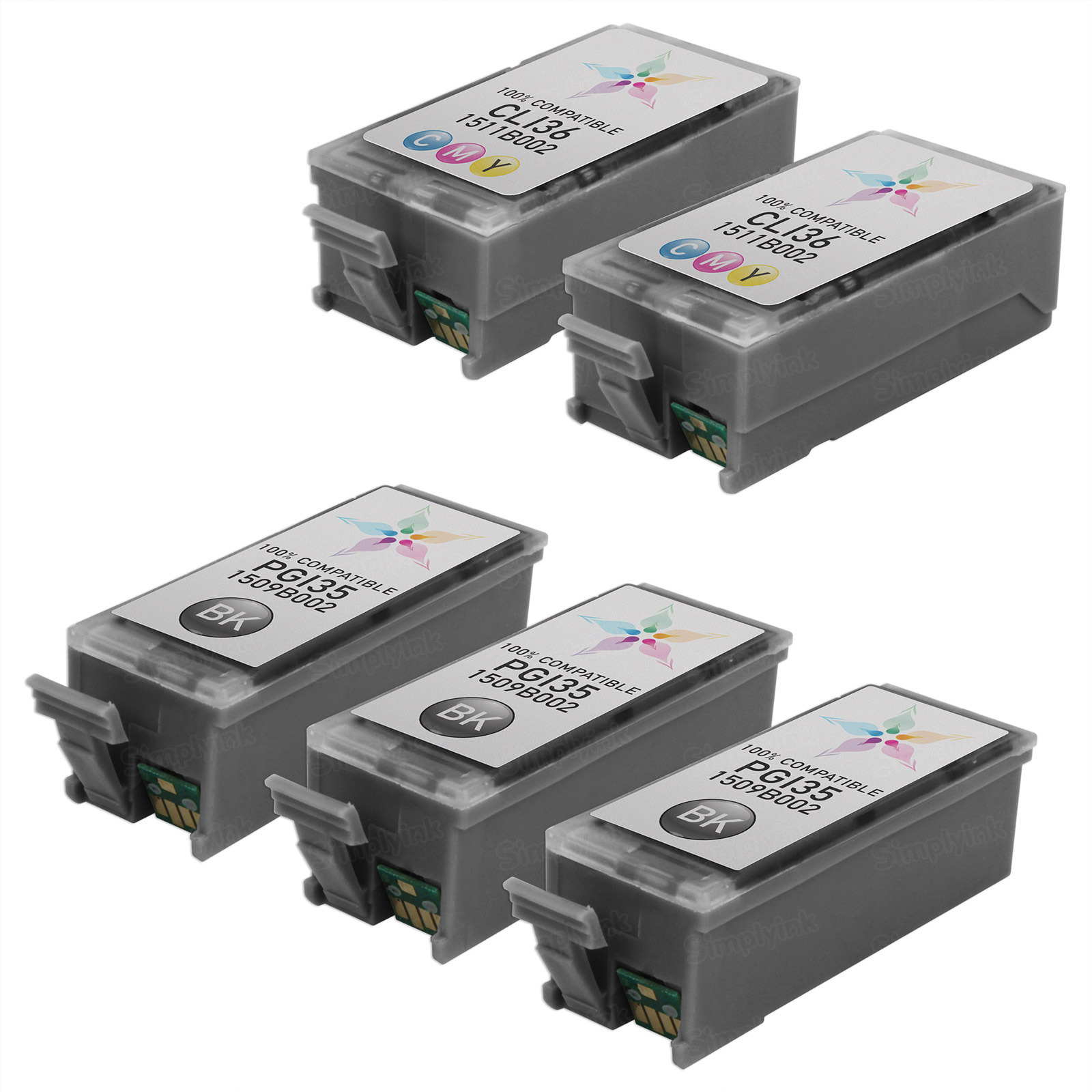 Inkjet Supplies for Canon Printers - Remanufactured Bulk Set of 5 Ink Cartridges - 3 Black Canon PGI-35 (1509B002) and 2 Color Canon CLI-36 (1511B002)