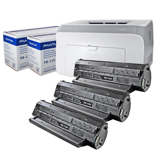 Pantum P2000 Printer, 1 Starter Toner and 2 HY PB110H Toners