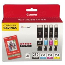 Canon PGI-250 / CLI-251 OEM Ink Cartridge Color 4-Pack, 6497B004