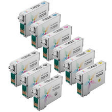 Remanufactured Epson Bulk Set of 9 Standard Yield Ink Cartridges - 3 Black T125120 and 2 each of: Cyan T125220, Magenta T125320 and Yellow T125420