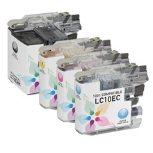 Compatible 4 Pack for Brother LC10E: 1 Black, Cyan, Magenta, Yellow