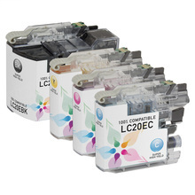 Compatible 4 Pack for Brother LC20E: 1 Black, Cyan, Magenta, Yellow