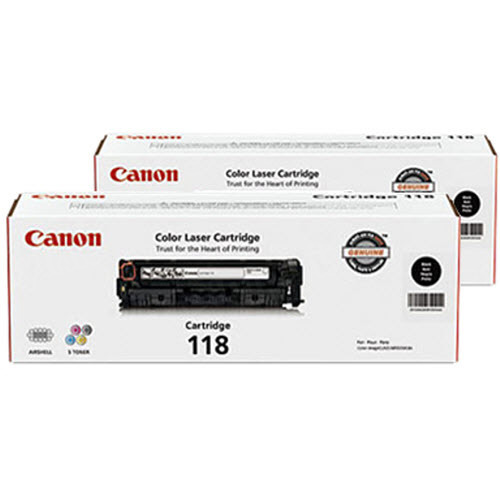Canon 118 Black Toner Cartridge, OEM Dual Pack