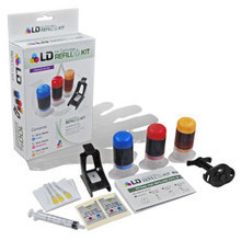 Refill Kit for Hewlett Packard CH562WN (HP 61) Color Ink Cartridges