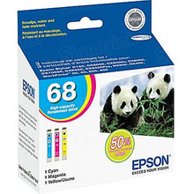 Original Epson 68 OEM High Yield Ink Cartridge Color 3-Pack, T068520, C/M/Y