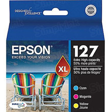 Original Epson 127 OEM Extra High Yield Ink Cartridge Color 3-Pack, T127520, C/M/Y