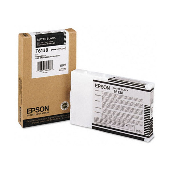 Epson T613800 Matte Black OEM Ink Cartridge