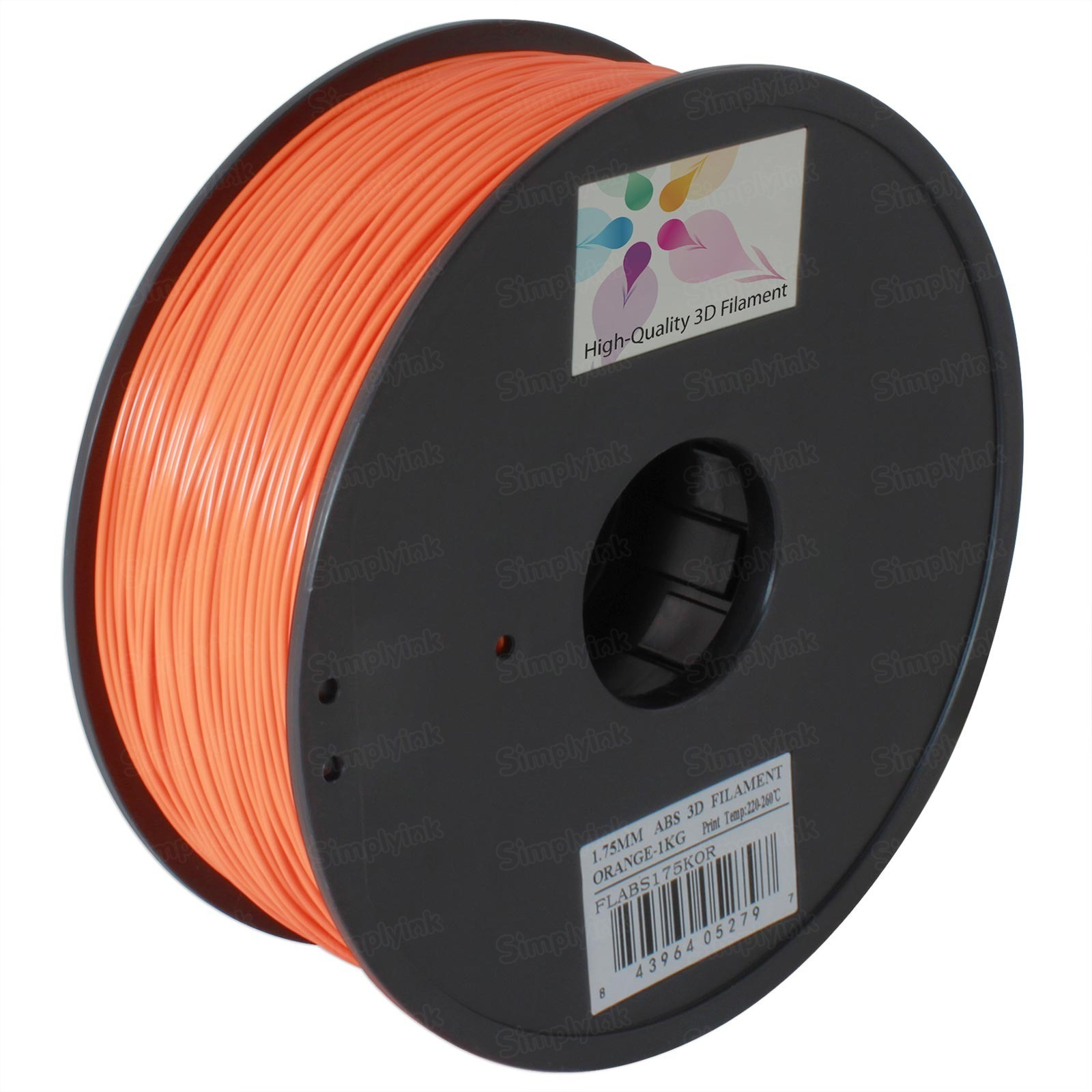Spool of Orange 1.75mm 1kg ABS Filament