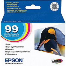 Original Epson 99 OEM Standard Yield Ink Cartridge Color 5-Pack, T099920, C/M/Y/LC/LM