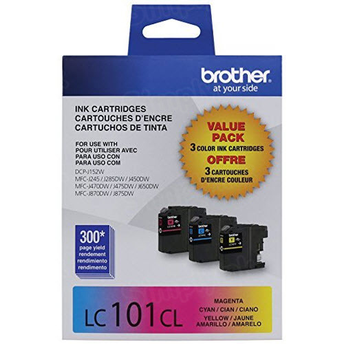 Brother OEM LC1013PKS C/M/Y Ink Cartridges, 3 Pack