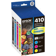 Original Epson 410 OEM Ink Cartridge Color 4-Pack, T410520, PB/C/M/Y