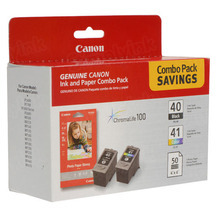 OEM Canon 0615B009 2 Pack Ink Cartridges PG-40 / CL-41 with Photo Paper