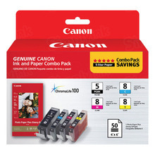 OEM Canon 0628B027 Set of 4 PGI-5/CLI-8 Ink Cartridges - 1 Black, Cyan, Magenta, Yellow with Photo Paper