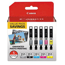 OEM Canon 6513B011 CLI-251 Set of 5 Ink Cartridges - 1 Black, Cyan, Magenta, Yellow, Gray