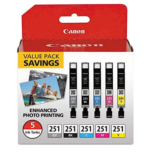 OEM Canon CLI-251 Set of 5 Ink Cartridges