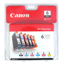 OEM Canon 4705A018 BCI-6 Set of 6 Ink Cartridges - 1 Black, Cyan, Magenta, Yellow, Photo Cyan, Photo Magenta