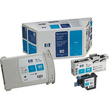 Original HP 80XL Cyan Ink Cartridge, Printhead & Cleaner in Retail Packaging (C4891A) High-Yield