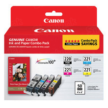 OEM Canon 2945B011 Set of 4 PGI-220/CLI-221 Ink Cartridges - 1 Black, Cyan, Magenta, Yellow with Photo Paper