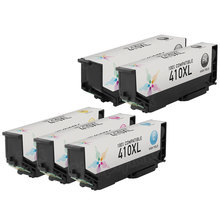 Remanufactured 5 Pack for Epson 410XL: 1 Black, Cyan, Magenta, Yellow, Photo Black