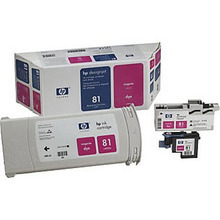 Original HP 81 Magenta Ink Cartridge, Printhead & Cleaner in Retail Packaging (C4992A) Extra High-Yield
