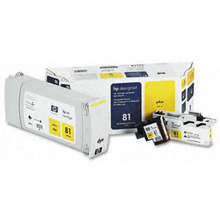 Original HP 81 Yellow Ink Cartridge, Printhead & Cleaner in Retail Packaging (C4993A) Extra High-Yield