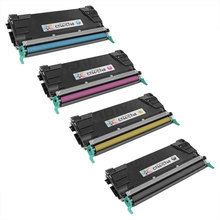 Remanufactured Bulk Set of 4 Toner Cartridges for Lexmark C746H C746A - 1 Each of: Black, Cyan, Magenta and Yellow
