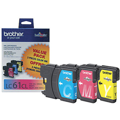 Brother OEM LC613PKS C/M/Y Ink Cartridges, 3 Pack