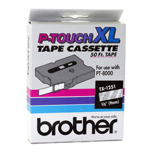 Brother TX1251 White on Clear OEM 3/8 Label Tape