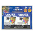 Brother OEM LC512PKS Black Ink Cartridges, 2 Pack
