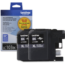 Brother LC1032PKS Black OEM Ink Cartridges, High-Yield 2 Pack