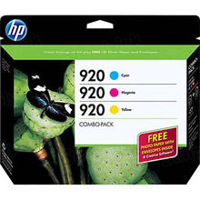 Original HP 920 Cyan, Magenta Yellow Combo Pack in Retail Packaging, (CN066FN)