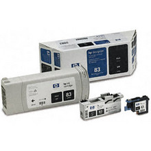 Original HP 83 Black Ink Cartridge, Printhead & Cleaner in Retail Packaging (C5000A) High-Yield