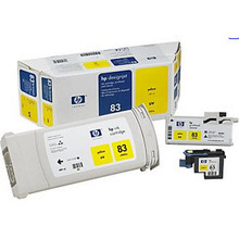 Original HP 83 Yellow Ink Cartridge, Printhead & Cleaner in Retail Packaging (C5003A) High-Yield