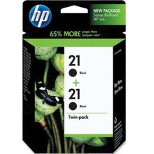 Original HP 21 Black Ink Twin Pack in Retail Packaging, (C9508FN)